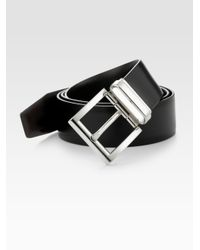 Prada | Black Calfskin Leather Belt for Men | Lyst