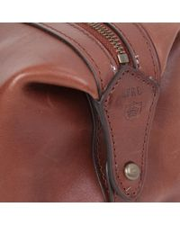 Ralph Lauren Brown Dopp Kit Leather Wash Bag for men
