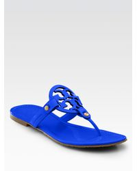 9f5e3d85ac6 Lyst - Tory Burch Miller Patent Leather Thong Sandals in Blue