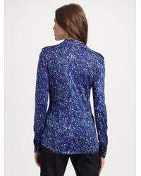 Tory Burch   Blue Printed Silk Blouse   Lyst