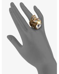 Alexander McQueen - Metallic Heart Skull Ring - Lyst