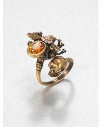 Alexander McQueen - Metallic Skull Bee Wrap Around Ring - Lyst