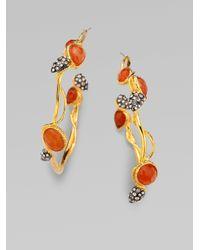 Alexis Bittar - Orange Paveacute Swarovski Crystal Accented Carnelian Vine Hoop Earring - Lyst