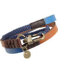 Caputo & Co. - Blue Leather Colorblock Wrap Bracelet for Men - Lyst
