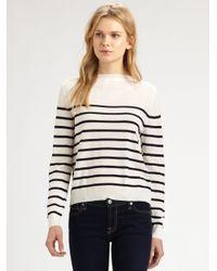 CLU - White Striped Silktrim Sweater - Lyst