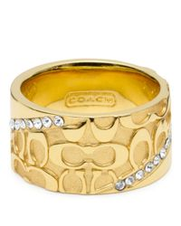 COACH - Metallic Half Signature Pave Band Ring - Lyst