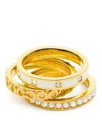 COACH | Metallic Op Art Pearl Ring Set | Lyst