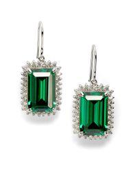 CZ by Kenneth Jay Lane | Pavé Frame Emerald Cut Earringsemerald Green | Lyst