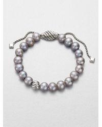 David Yurman - Metallic 8mm Grey Pearl Sterling Silver Bracelet - Lyst