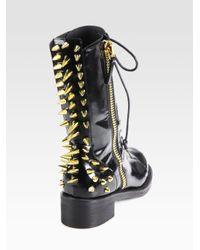 Giuseppe Zanotti | Black Studded Leather Combat Boots | Lyst