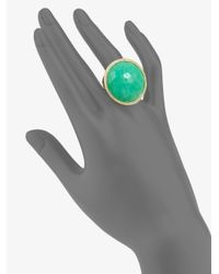 Ippolita - Green Diamond Accented 18k Gold Chrysoprase Ring - Lyst