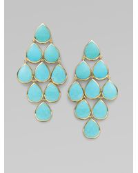 Ippolita Blue Turquoise 18k Yellow Gold Cascade Earrings