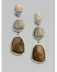 Isaac Mizrahi New York - Metallic Crystal Resin Stone Drop Earrings - Lyst