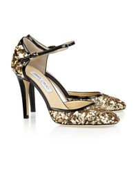 Jimmy Choo - Metallic 'Kaya' Sandals - Lyst