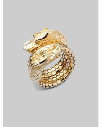 John Hardy - Metallic 18k Gold Naga Head Coil Ring - Lyst