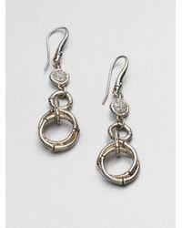 John Hardy | Metallic White Sapphire and Sterling Silver Drop Earrings | Lyst