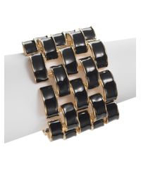 Kenneth Jay Lane | Black Wide Enamel Link Bracelet | Lyst