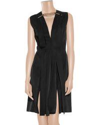 Lanvin Black Ribbon Paneled Grosgrain Dress
