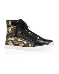 Lanvin | Animal Pythonprint Satin and Leather Sneakers | Lyst