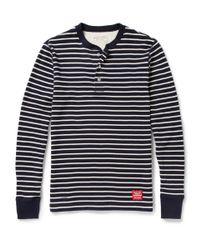 Neighborhood Blue Striped Waffleknit Cotton Henley T-shirt for men