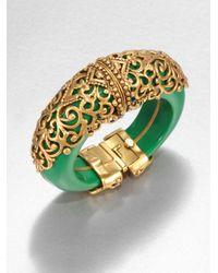 Oscar de la Renta - Green Filigreeencrusted Cuff Bracelet - Lyst