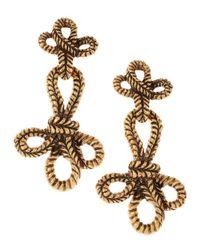 Oscar de la Renta - Metallic Knotted Rope Clip Earrings - Lyst