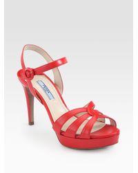 Prada - Red Saffiano Leather Strappy Platform Sandals - Lyst