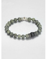 Scott Kay | Green Tigers Eye Black Onyx Black Sapphire and Sterling Silver Bracelet for Men | Lyst