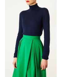 TOPSHOP Blue Knitted Roll Neck Jumper