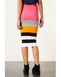 TOPSHOP - Pink Colour Block Stripe Tube - Lyst