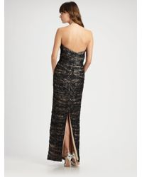 Vicky Tiel   Black Ruched Lace Strapless Gown   Lyst
