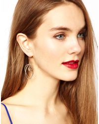 French Connection | Metallic Organic Irregular Hoop and Bead Drop Earrings | Lyst