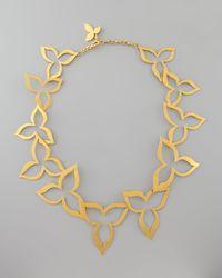 Herve Van Der Straeten - Metallic Hammered Gold Flower Necklace - Lyst