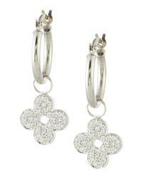 KC Designs Metallic Pave Diamond Clover Earrings