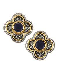 Konstantino Metallic Iolite Clover Clipon Earrings