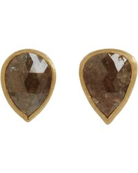 Malcolm Betts | Brown Black Diamond Circular Stud Earrings | Lyst