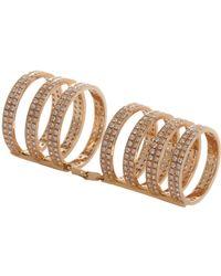 Repossi - Metallic Rose Gold Diamond Sevenrow Berbere Ring - Lyst