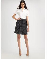 Akris Punto - Black Polka Dot Pleated Skirt - Lyst