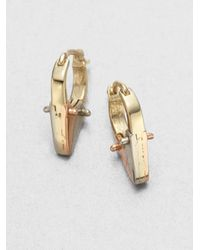 A.L.C. | Metallic Tricolor Pointed Huggie Hoop Earrings | Lyst