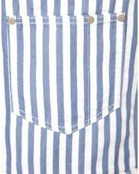 Glamorous - Blue Asos Short Denim Overalls In Candy Stripe - Lyst