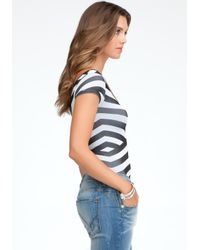 Bebe Black Diagonal Stripe Bodysuit