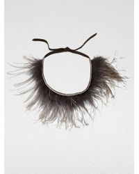 Brunello Cucinelli | Brown Ostrich Feather Necklace | Lyst