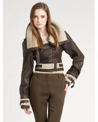 Burberry Prorsum | Brown Shearling Aviator Jacket | Lyst