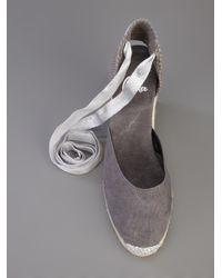 Castaner Gray Espadrille Wedge Sandal