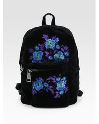 Christopher Kane - Black Embroidered Velvet Backpack - Lyst