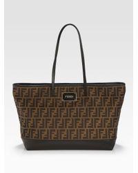 Fendi   Brown Zucca Roll Bag   Lyst