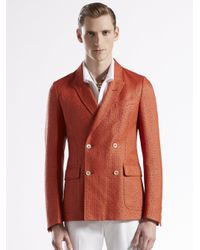 Gucci - Red Raffia Doublebreasted Cardigan Jacket - Lyst