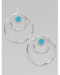 Ippolita - Metallic Turquoise Cabochon Sterling Silver Hoop Earrings - Lyst