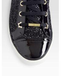 Jimmy Choo Black Destin Glitter Patent Leather High Top Sneakers