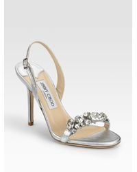Jimmy Choo | Lotus Metallic Leather Crystal-detail Sandals | Lyst